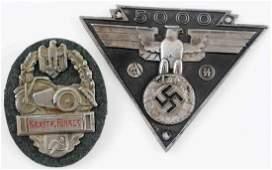 WWII GERMAN 3RD REICH SS SA BIKER PLAQUE LOT OF 2