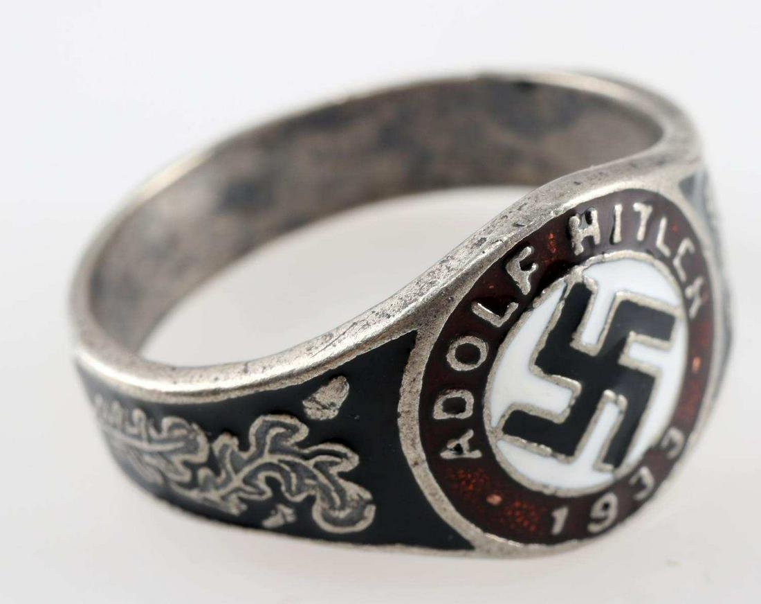 WWII GERMAN REICH HITLER 1933 ELECTION SILVER RING