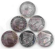 WWII GERMAN THIRD REICH LOT OF 6 HITLER COINS