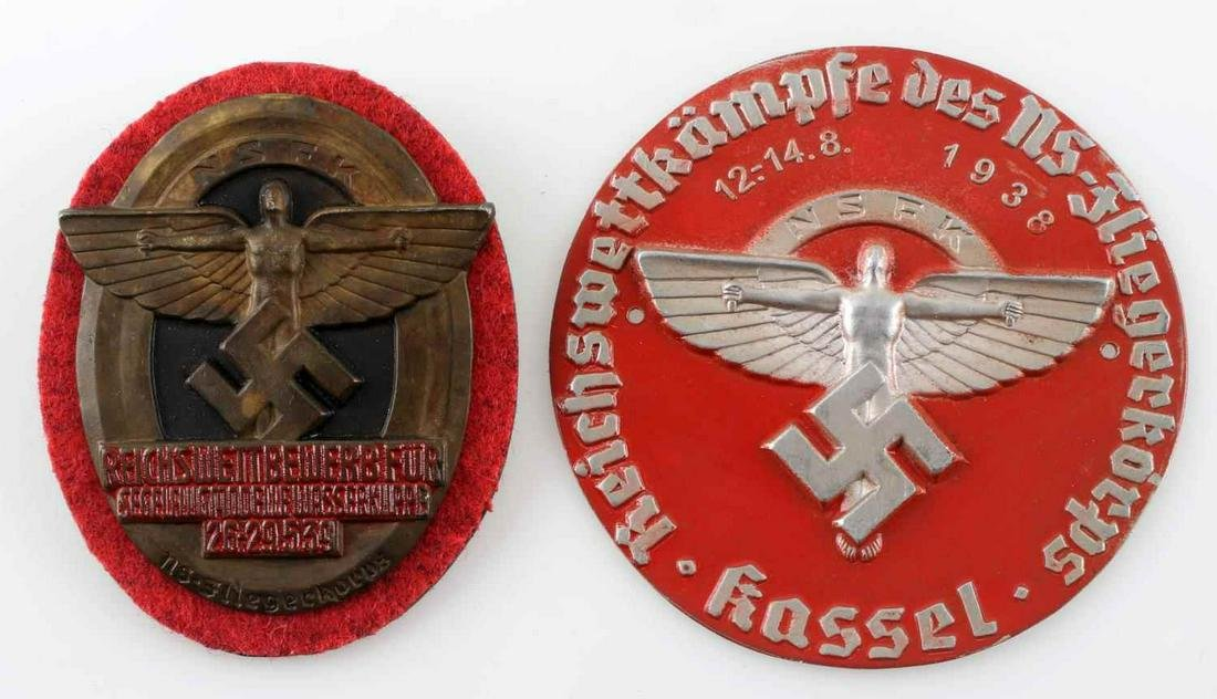 WWII GERMAN THIRD REICH NSFK SHIELD BADGES