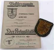 WWII GERMAN 3RD REICH KRIM SHIELD BADGE  CITATION