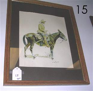 FREDERIC REMINGTON PRINT COWBOY HORSE BACK FRAMED