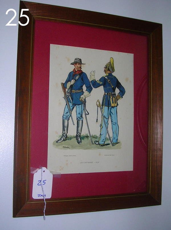 25: KEDEL PRINT UNIFORMED SOLDIERS 7TH CAVALRY FRAMED