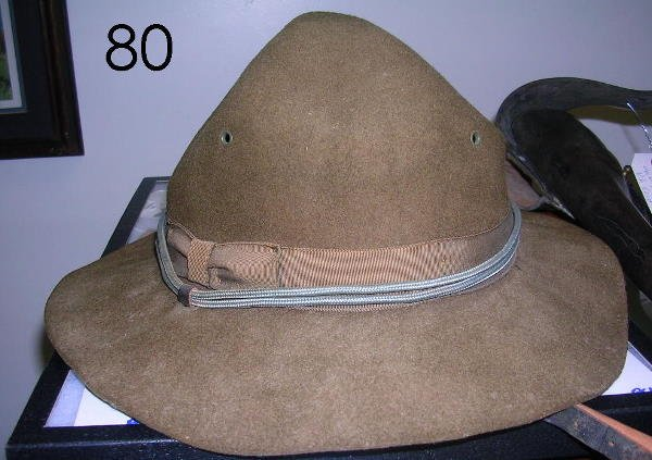 80: WWII CAMPAIGN HAT W INFANTRY BULLION CORD 1944