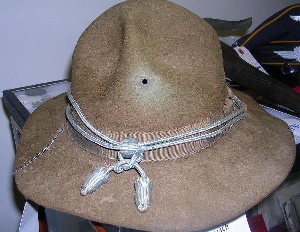 80: WWII CAMPAIGN HAT W INFANTRY BULLION CORD 1944 - 4