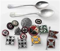 WWII GERMAN THIRD REICH SILVERWARE & PIN LOT