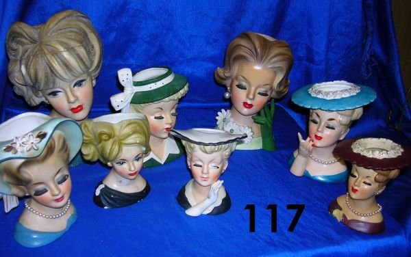 117: VINTAGE HEAD VASE LOT OF 8 ALL WITH MINOR DAMAGE