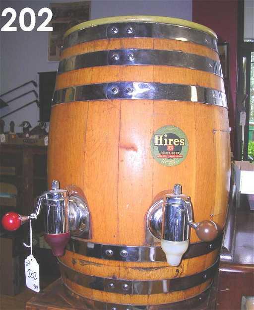 202 Vintage Hires Rootbeer Dispenser Wood Barrel Keg