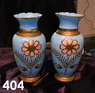 VINTAGE PAIR SMALL GLASS VASES WITH GOLD TRIM