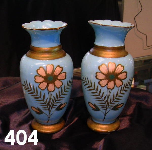 404: VINTAGE PAIR SMALL GLASS VASES WITH GOLD TRIM