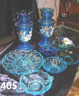 BLUE GLASS LOT VICTORIAN VASES PLATE BOWLS ETC