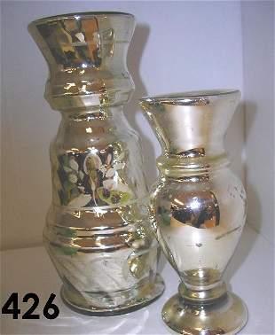 MERCURY GLASS VASE LOT 2 SILVER BLEEDING