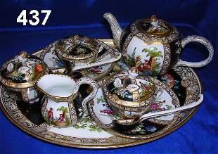 MEISSEN AUGUSTUS REX FINE PORCELAIN TEA SET 8 PIEC