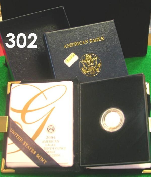 302: US 2004 GOLD AMERICAN EAGLE $5 GOLD COIN PROOF
