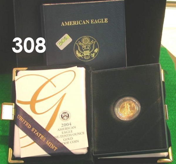 308: US 2004 GOLD AMERICAN PROOF $5 GOLD 1/10 OZ