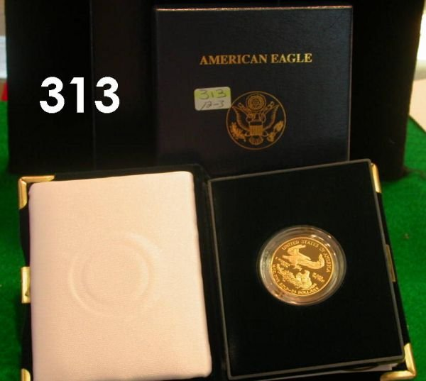 313: 1/2 OZ 2004 AMERICAN EAGLE PROOF GOLD COIN, IN BOX