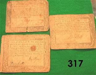 US COLONIAL MARYLAND 1775 1 DOLLAR, 1776 ONE DOLLA