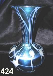 424: DURAND LOETZ IRIDESCENT GLASS COREA VASE BLUE