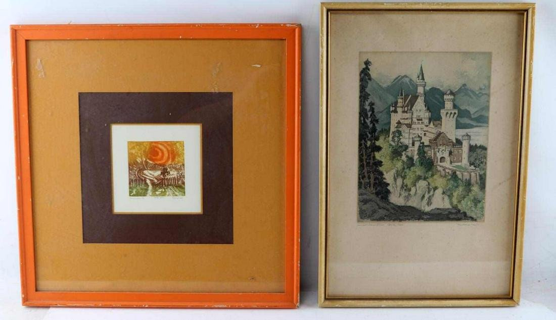 TWO FRAMED COLORED LANDSCAPE LITHOGRAPHS
