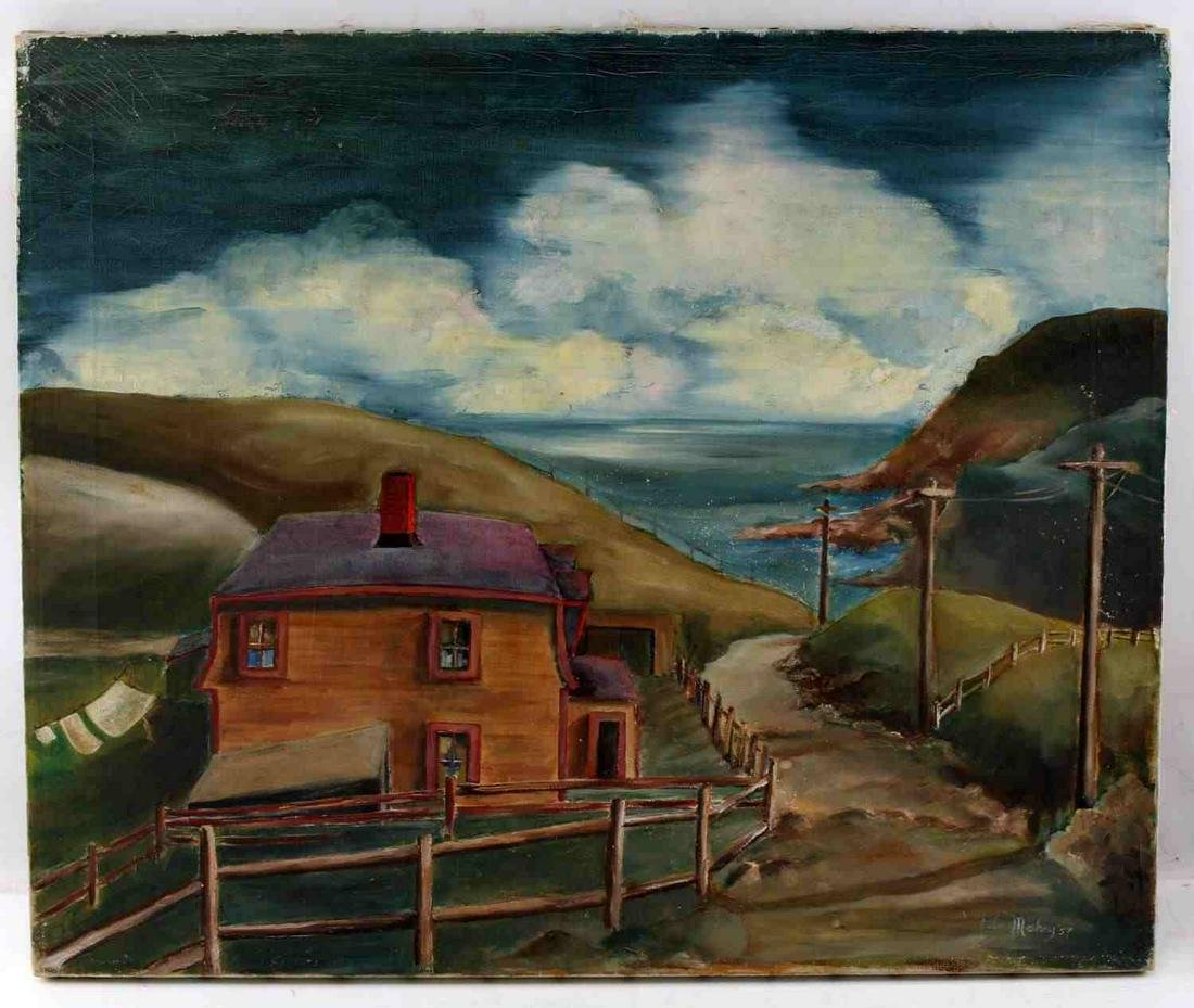 SIGNED UNFRAMED MID CENTURY PAINTING OF CLIFFS