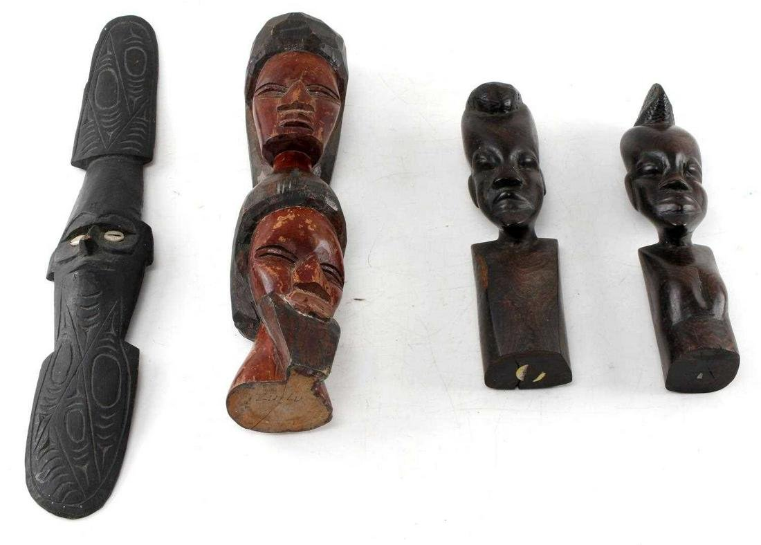 LOT OF FOUR AFRICAN WOODEN CARVED PIECES OF ART