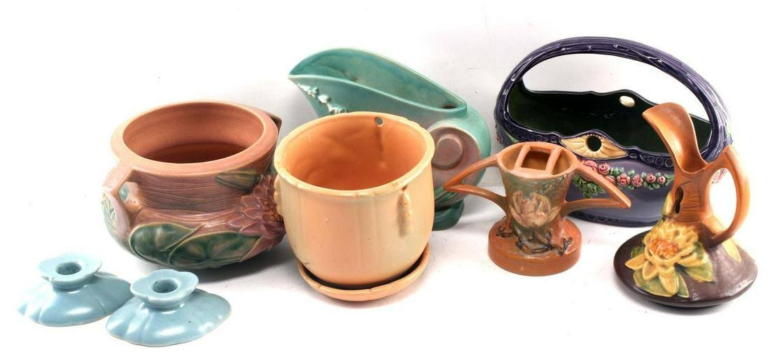LOT OF 9 MISC EICHWALD ROSEVILLE & OTHER POTTERY