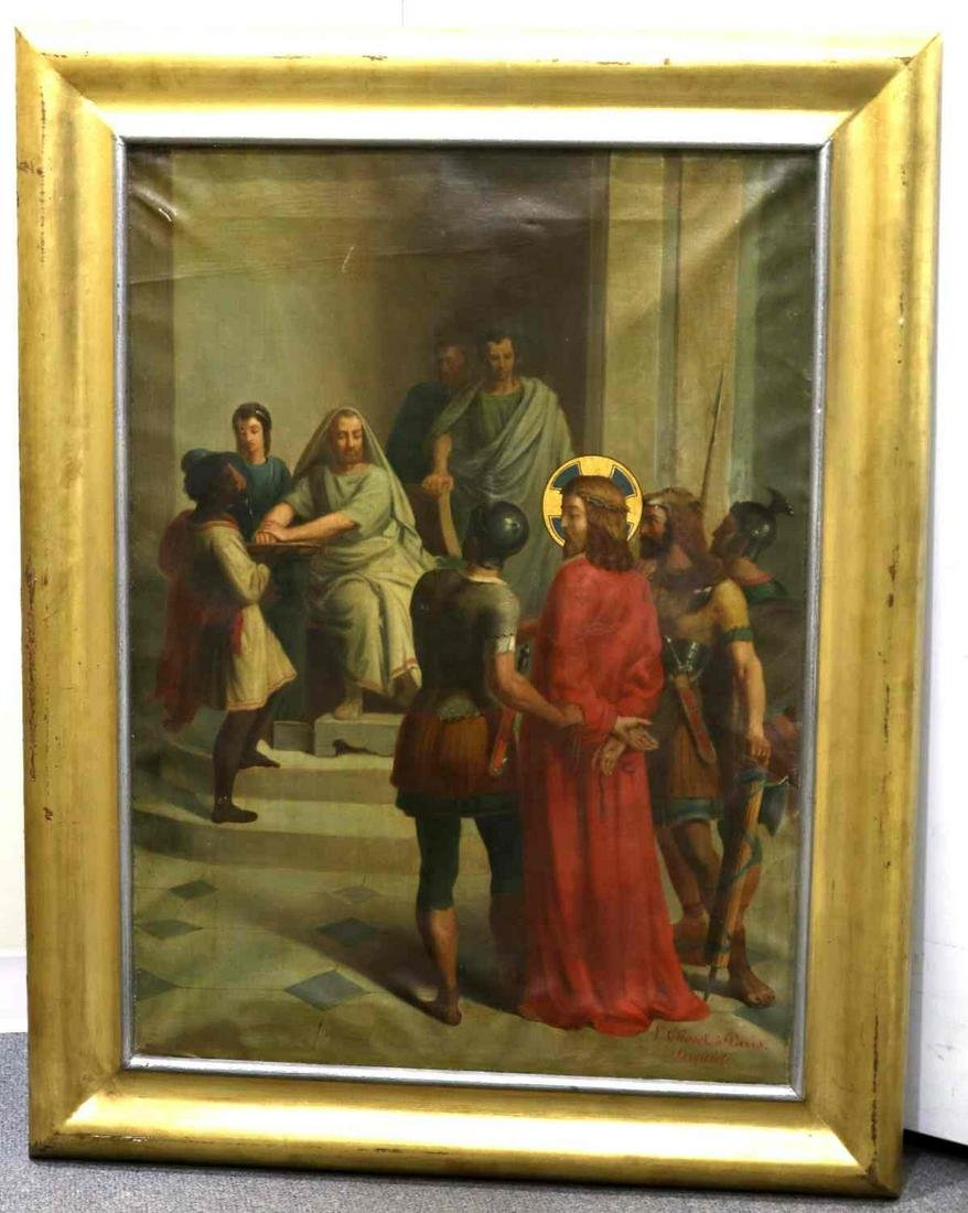 L. CHOVET OIL ON CANVAS 1ST STATION OF THE CROSS