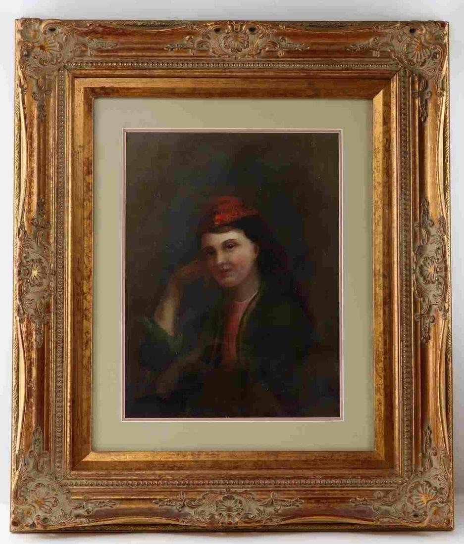 BUST LENGTH OIL PORTRAIT OF WOMAN WEARING RED CAP