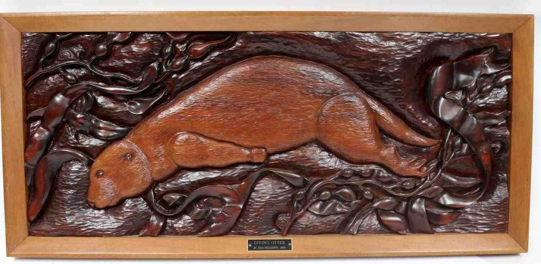 HAND CARVED WOOD RELIEF DIVING OTTER DELLAZOPPA