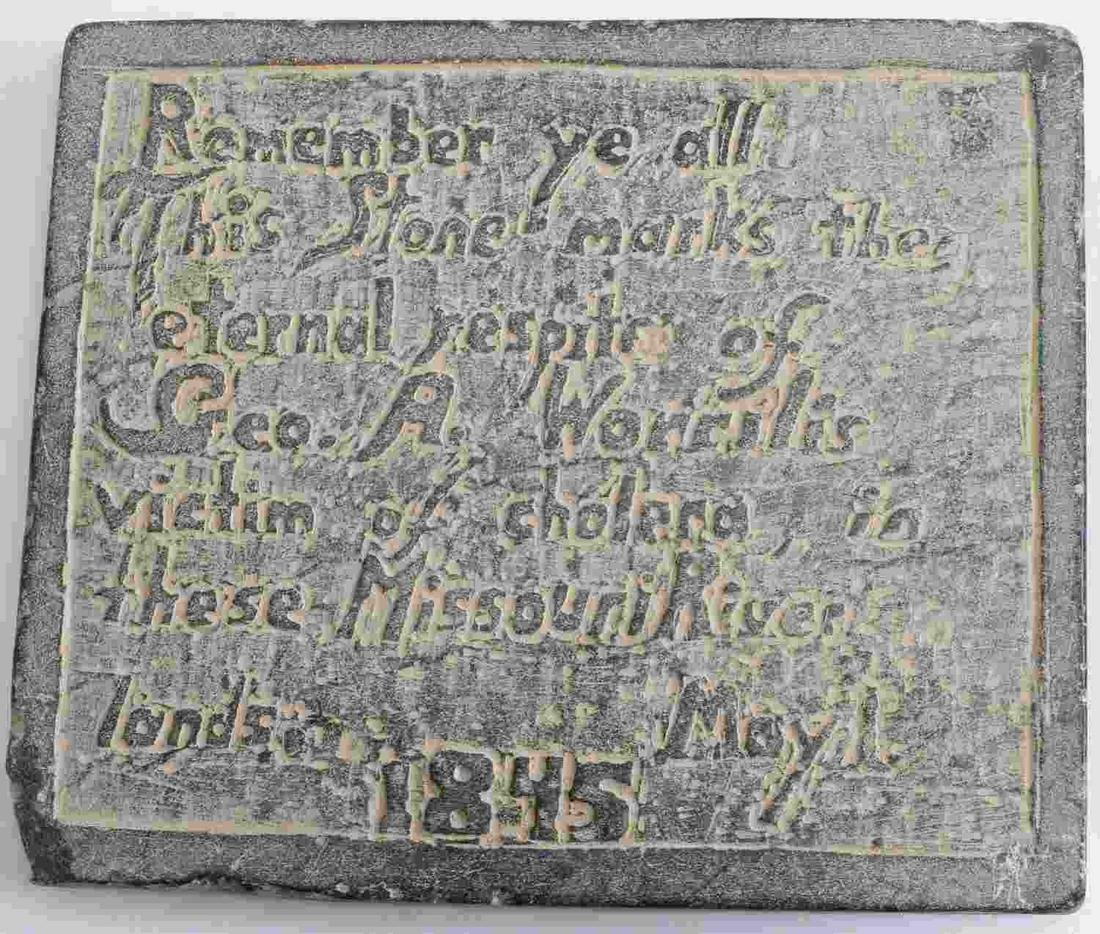 1845 CHOLERA VICTIM THESE MISSOURI LANDS HEADSTONE