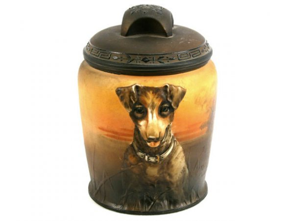 HAND PAINTED NIPPON RARE DOG BISCUIT JAR