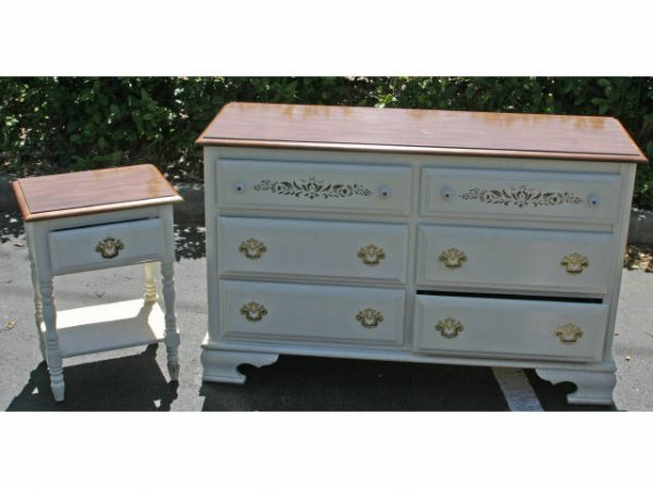 WHITE AND WOOD DRESSER & MATCHING END TABLE