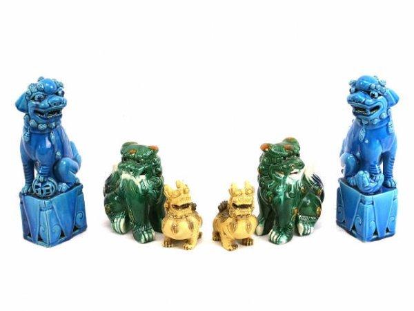 THREE PAIRS OF FOO DOG ASIAN FIGURINES
