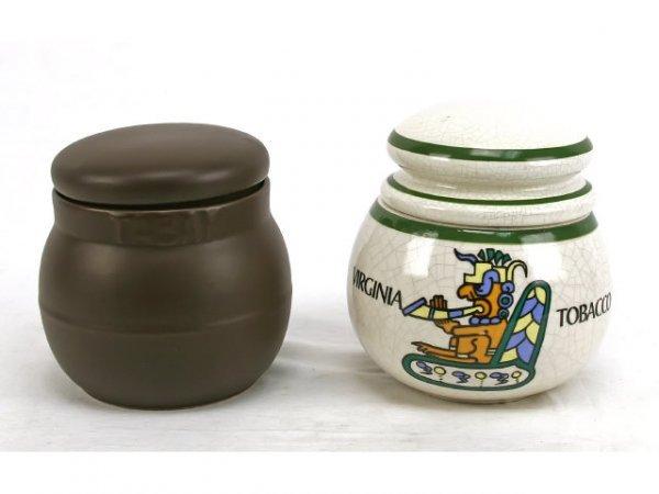 BROWN CERAMIC & VIRGINA TOBACCO JARS