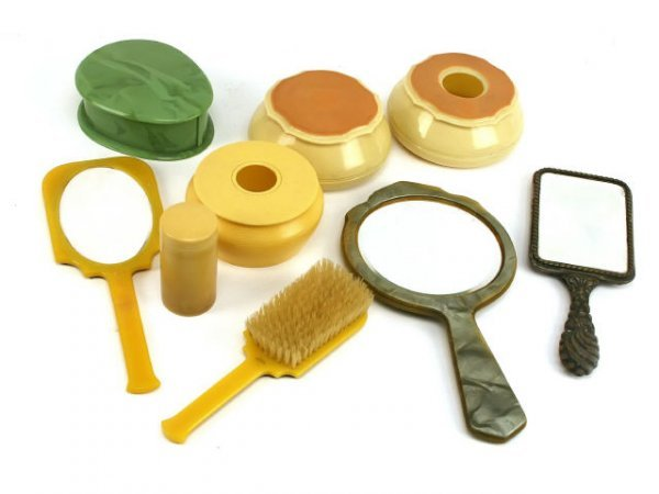 ANTIQUE CELLULOID VANITY LOT MIRRORS BOXES BRUSHES