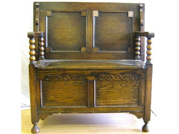 ANTIQUE ENGLISH CHAIR CHEST TO TABLE BENCH