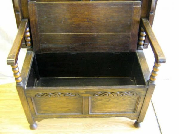 ANTIQUE ENGLISH CHAIR CHEST TO TABLE BENCH - 2