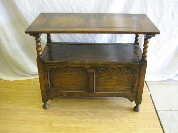 ANTIQUE ENGLISH CHAIR CHEST TO TABLE BENCH - 3