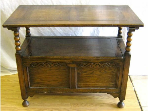 ANTIQUE ENGLISH CHAIR CHEST TO TABLE BENCH - 4