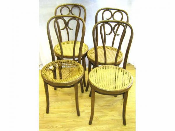 85009A: BENTWOOD WICKER SEAT CHAIR LOT OF 4