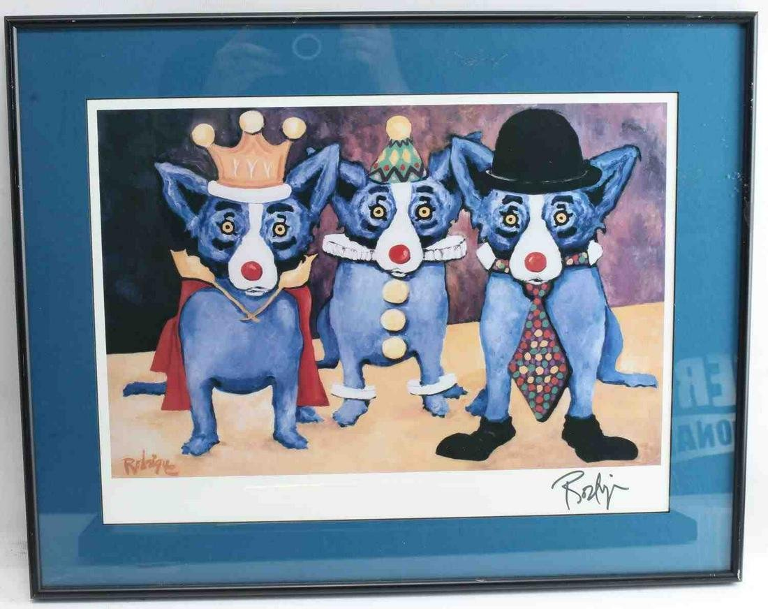 GEORGE RODRIGUE SIGNED BLUE DOG LITHOGRAPH