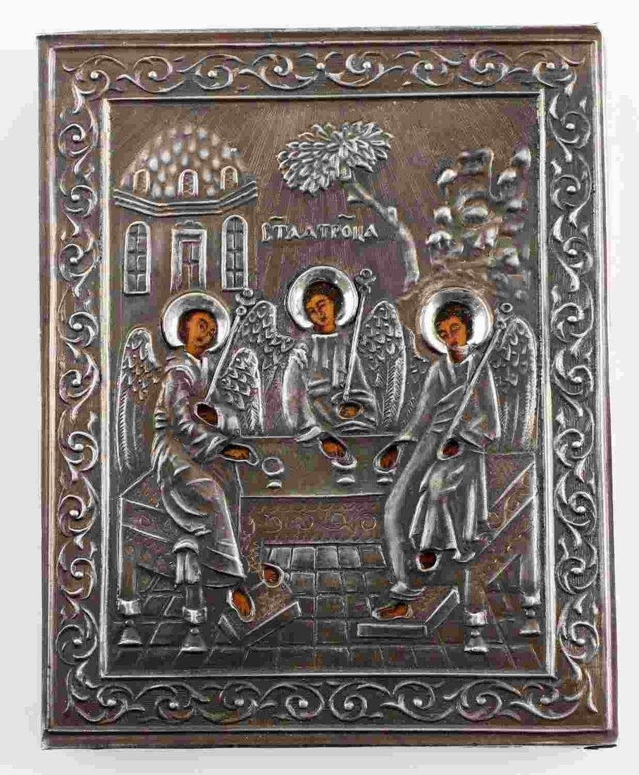 RUSSIAN IMPERIAL TRAVELING ICON TRINITY 84 SILVER
