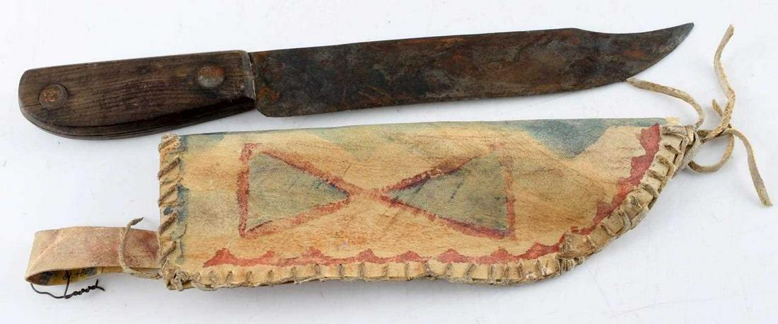 PARFLECHE PERIOD PLAINS INDIAN KNIFE AND SHEATH
