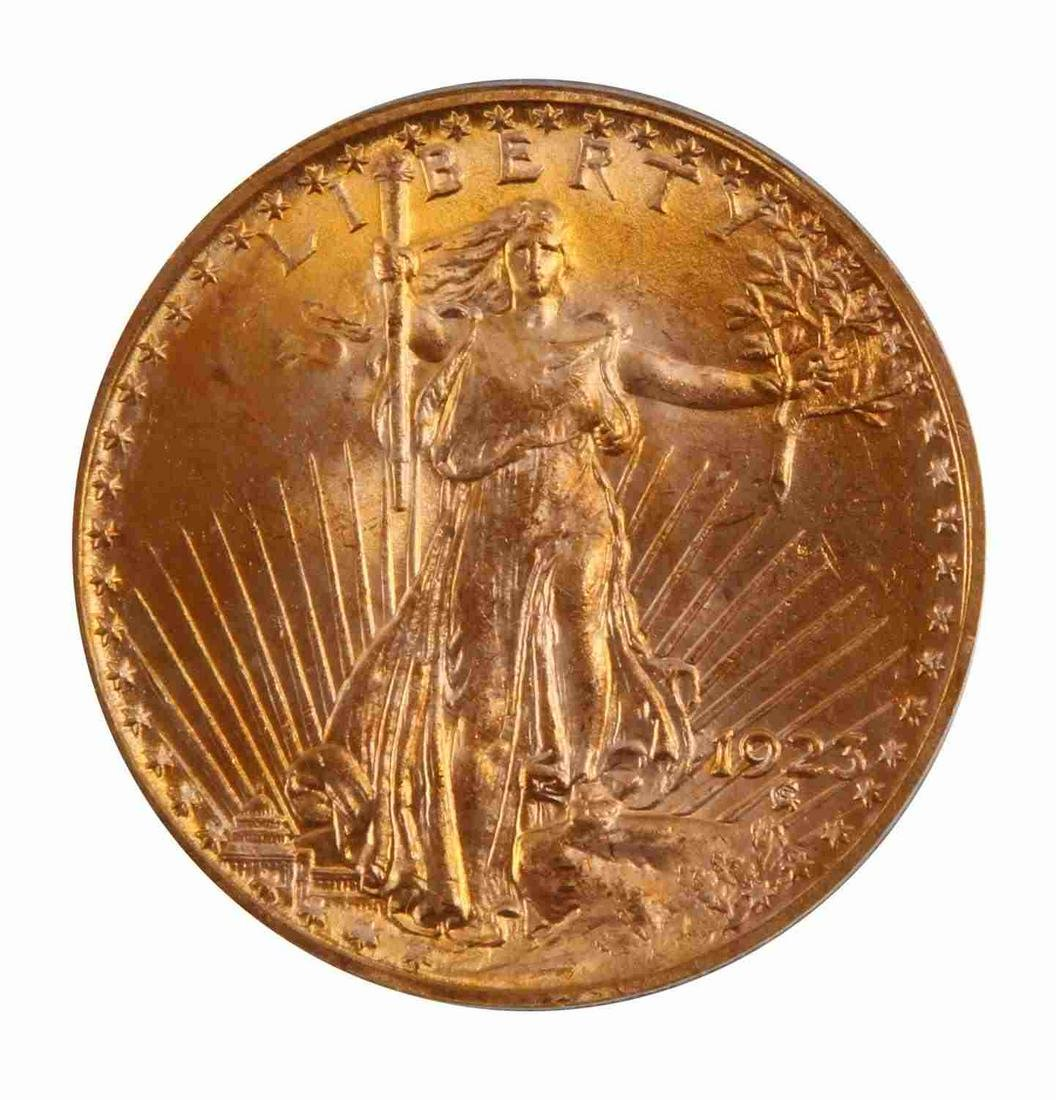 1923 $20 ST GAUDENS MS65 DOUBLE EAGLE GOLD COIN