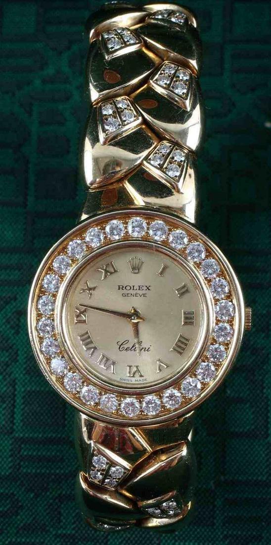 WOMENS 18K GOLD & DIAMOND CUSTOM ROLEX CELLINI