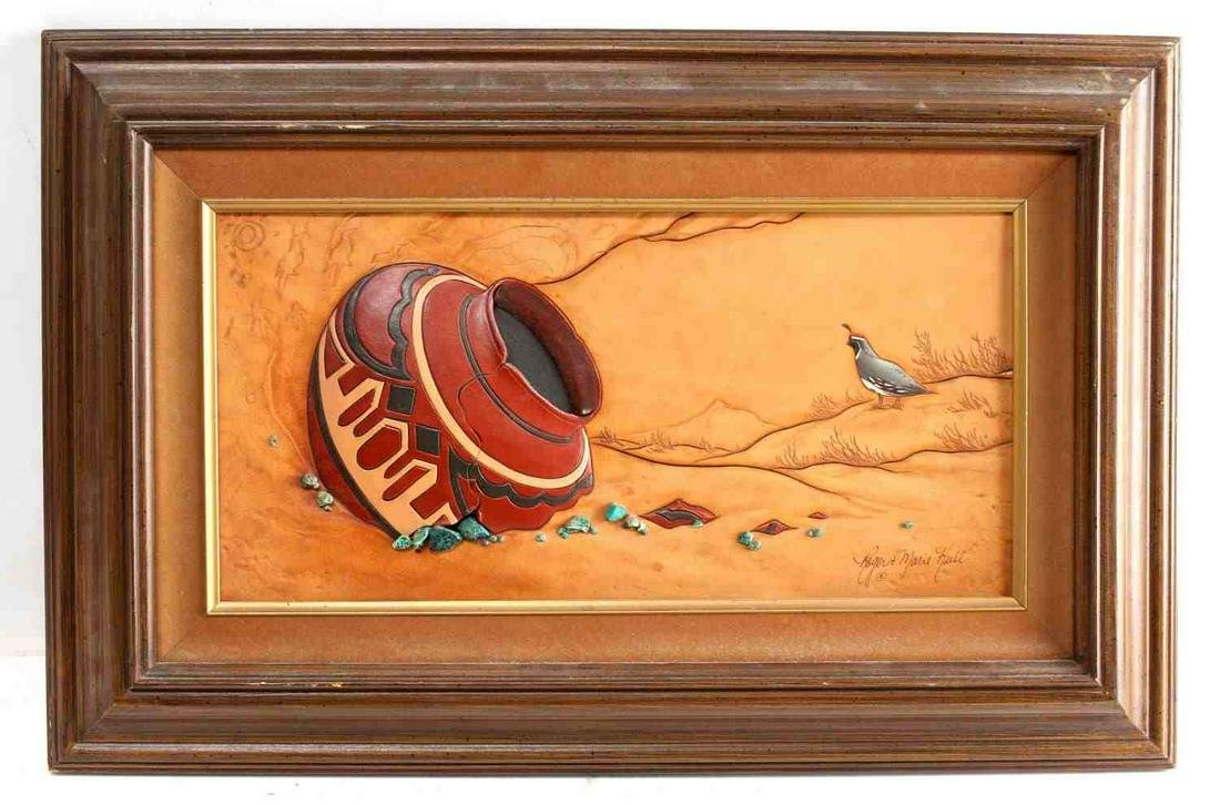 SOUTHWESTERN TOOLED LEATHER FRAMED ART PIECE