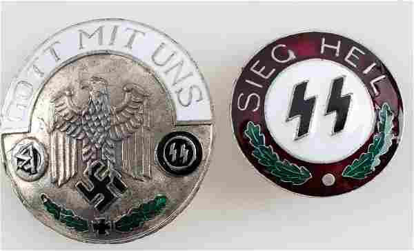 WWII GERMAN THIRD REICH ENAMEL PARTY SS BADGE LOT