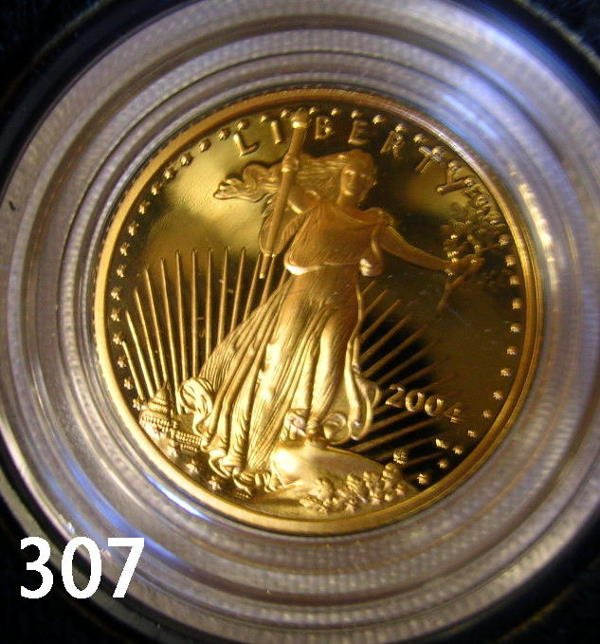 40307: US 2004 GOLD AMERICAN EAGLE PROOF 1/10 OZ. COIN