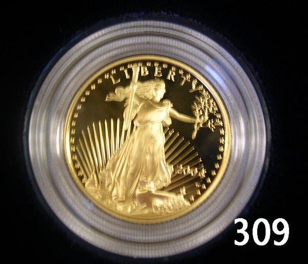 40309: US 2004 GOLD AMERICAN EAGLE 1/4 OZ PROOF BOXED