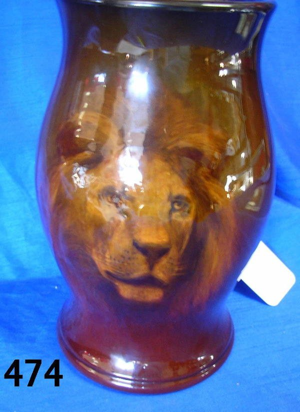 40474: HURLEY 1890 ROOKWOOD TANKARD ARTIST PAINTED LION